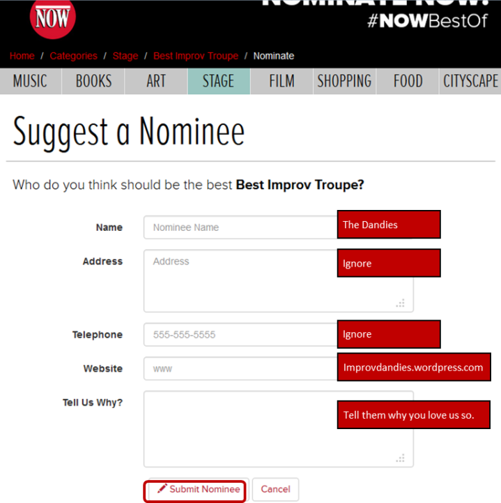 nominate us for Now Toronto's Reader's Choice Best-Of 2014