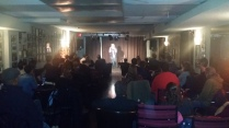 Great crowd enjoying the stand-up act