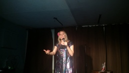 Rachelle Elie looks smashing as she crushes the audience with funny ribald jokes