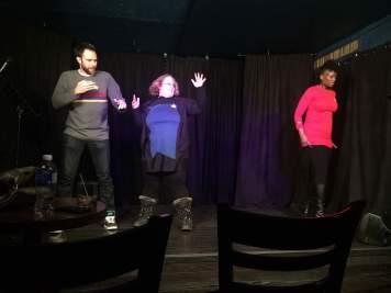 Acting Ensign Pincher, Q T'pai, and Boogura