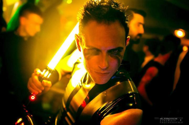 Chris Casselman as a lightsaber wielding sith