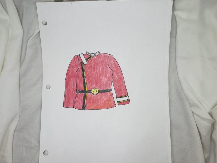 Andie's sketch of Captain Kirk's red Starfleet admiral's jacket - Photo by Andie Wells