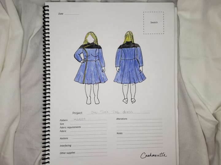 Andie's sketch of a blue skirted Star Trek Uniform - Photo by Andie Wells
