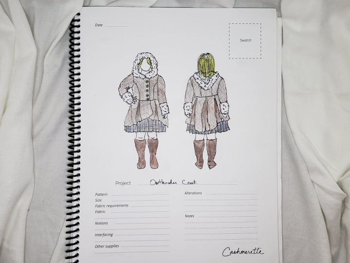 Andie's sketch of an Outlander-style brown coat with hood - Photo by Andie Wells