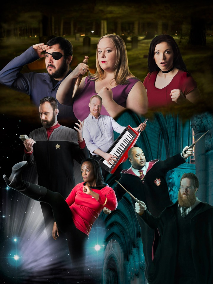 The Dandies cast, portraying characters from Buffy the Vampire Slayer, Star Trek and Harry Potter, with a bit of music thrown in