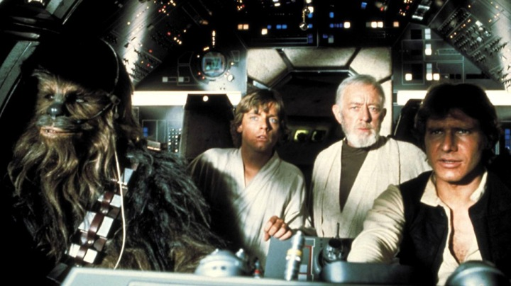 Chewbacca, Luke, Obi Wan and Han Solo in the cockpit of the Millennium Falcon